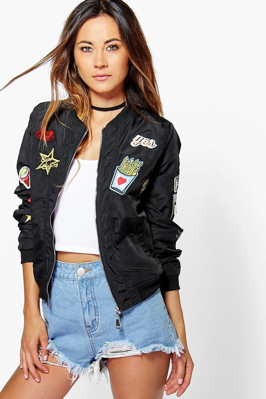 Amber Badge Bomber Jacket black