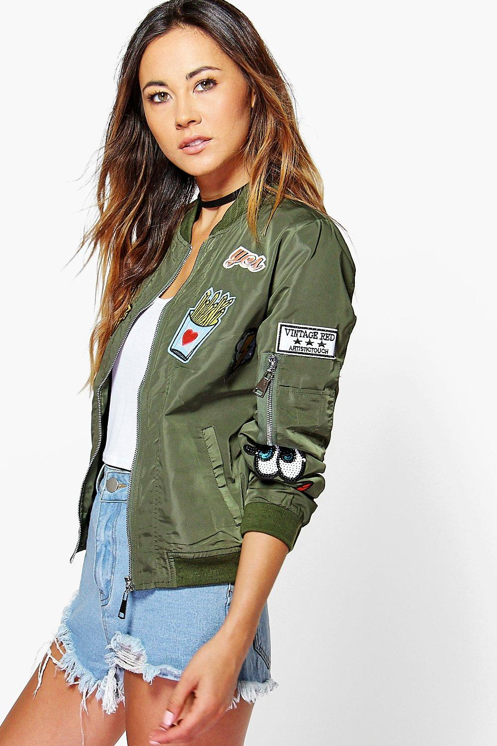 Amber Badge Bomber Jacket khaki