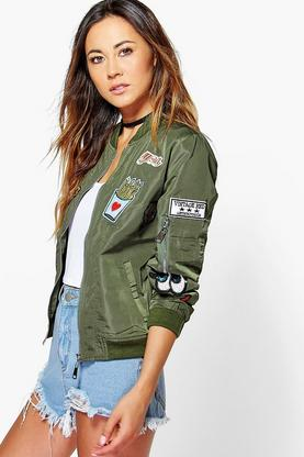 Boutique Amber Badge Bomber Jacket