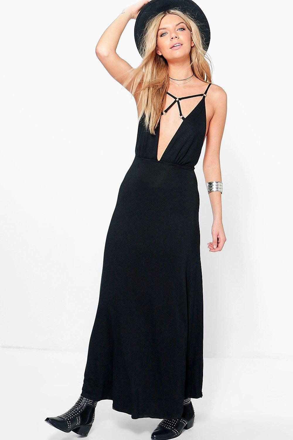 Arianna Eyelet Lace Up Front Maxi Dress