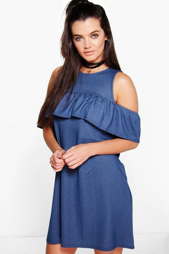 Ava Ruffle Sleeveless Shift Dress