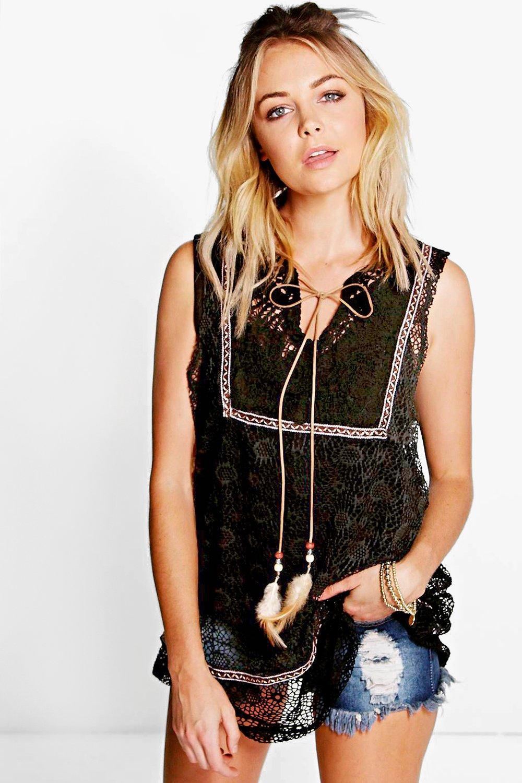 Crochet Longline Woven Top - black