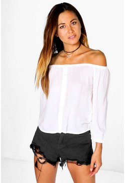 Lilly Button Through Bardot Top