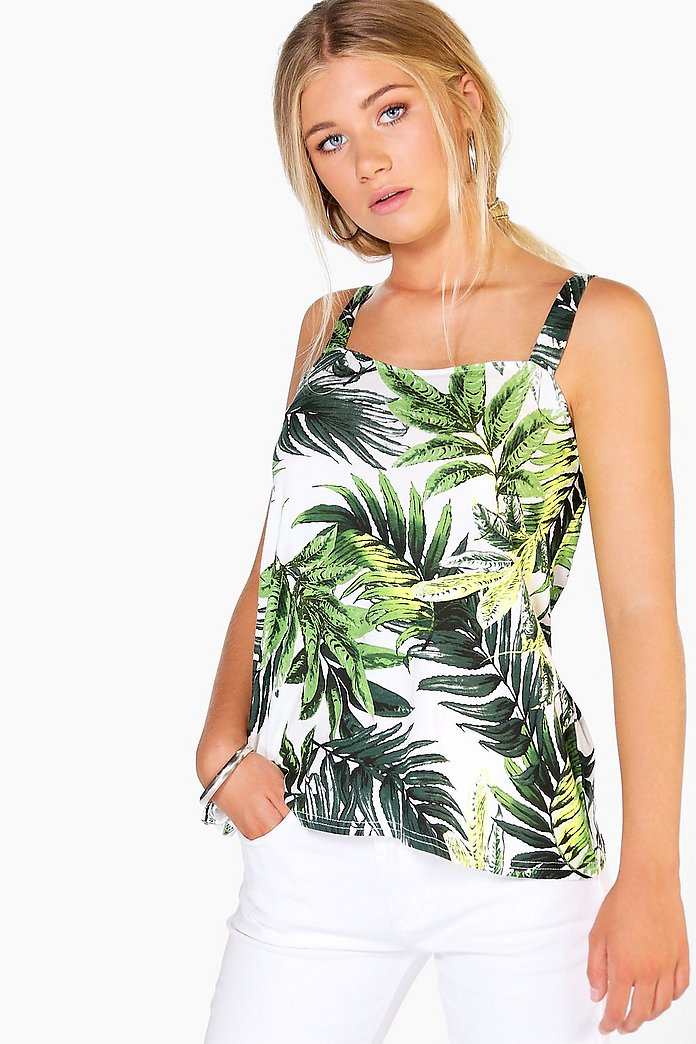 Summer Tropical Print Wide Strap Cami