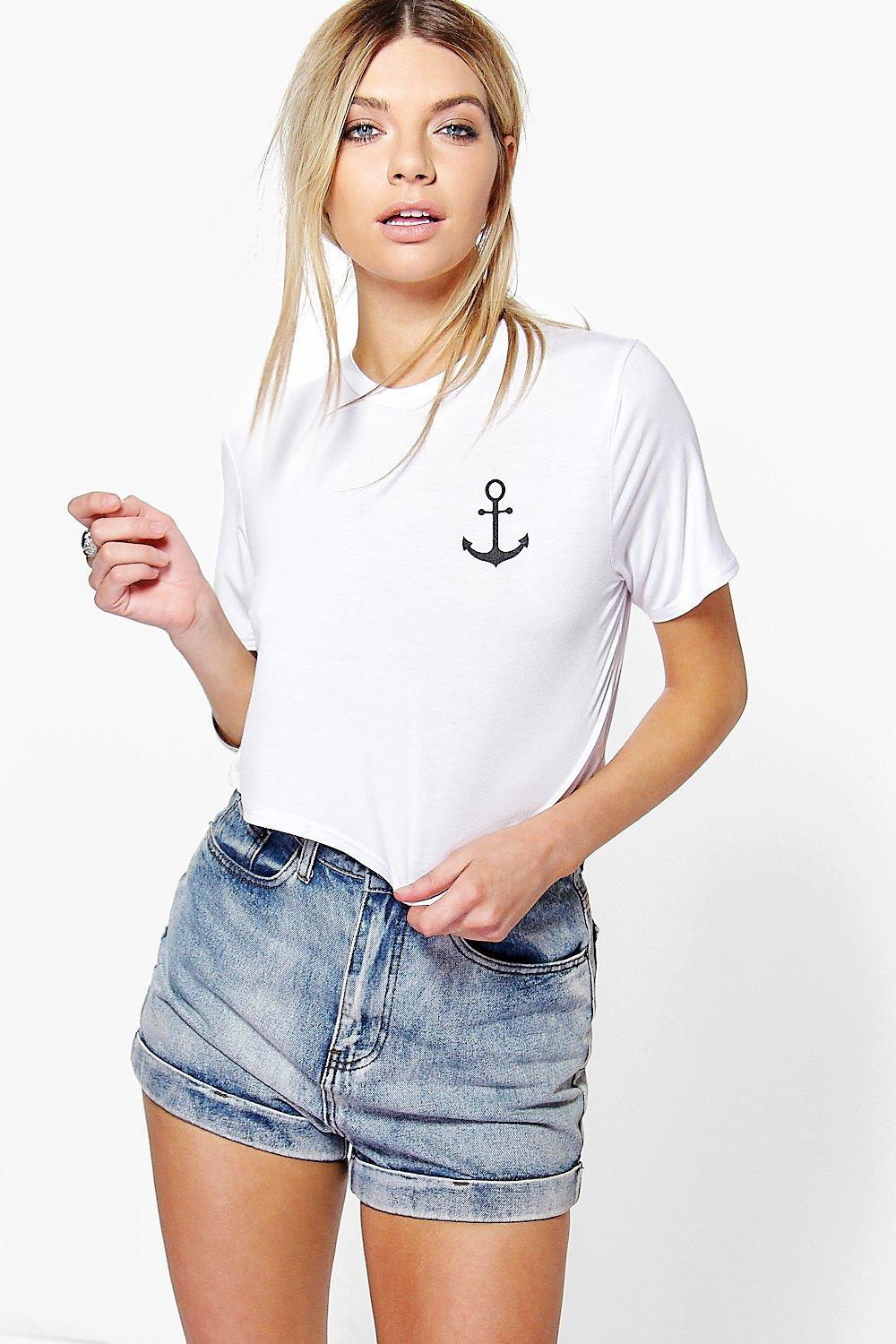 Bella Cropped Anchor Print Tee