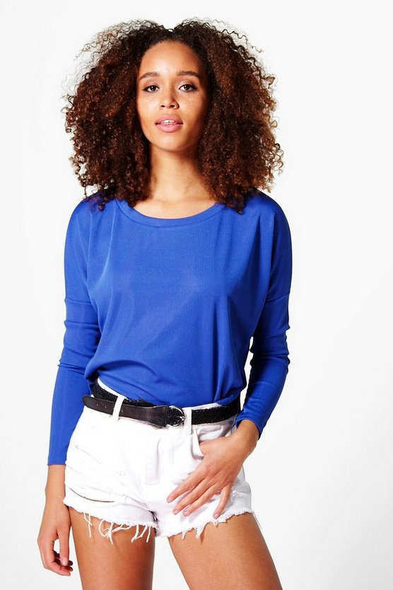 Wendy Ribbed Curved Hem Long Sleeve T-Shirt
