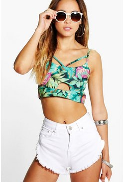 Poppy Large Tropical Cut Out Bralet