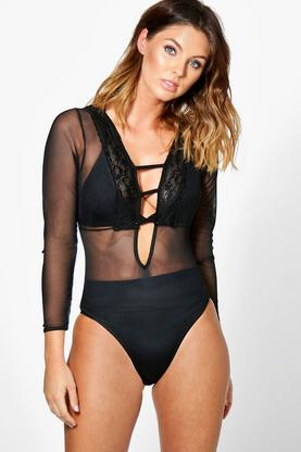Enya Long Sleeve Trim Mesh Bodysuit