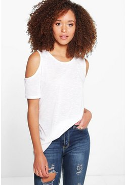 Maya Slub Oversized Cold Shoulder Tee