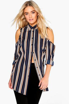 Bonnie Stripe Split Back Woven Shirt