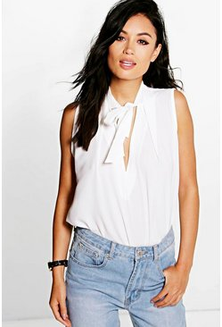 Martha Neck Tie Swing Sleeveless Top