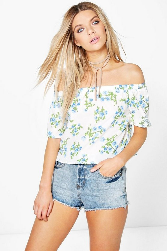 Millie Floral Woven Bardot Top