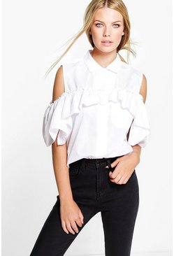 Lisa Frill Detail Cold Shoulder Shirt