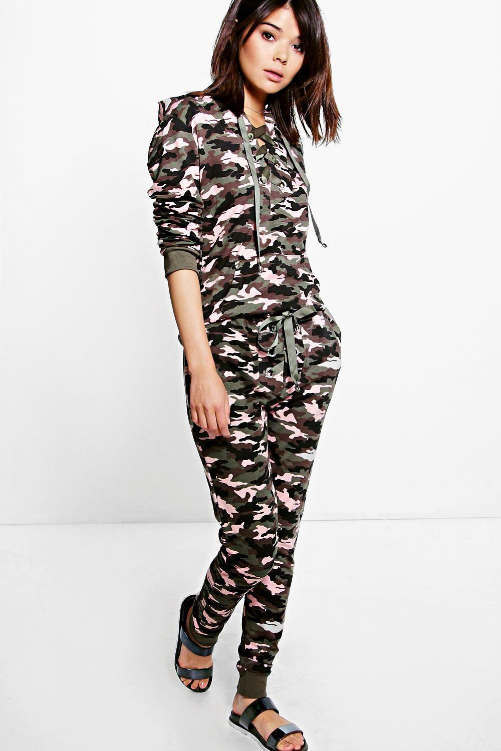 Boutique Lucy Camo Lace Up Knitted Loungewear Set