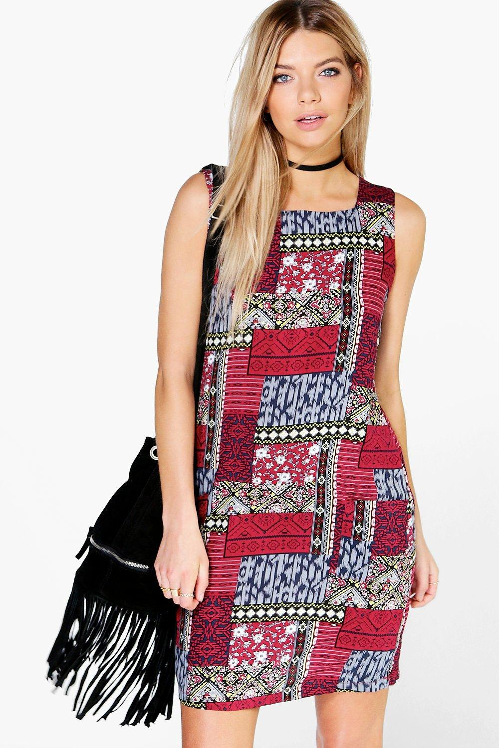 Parminda Patchwork Sleeveless Shift Dress
