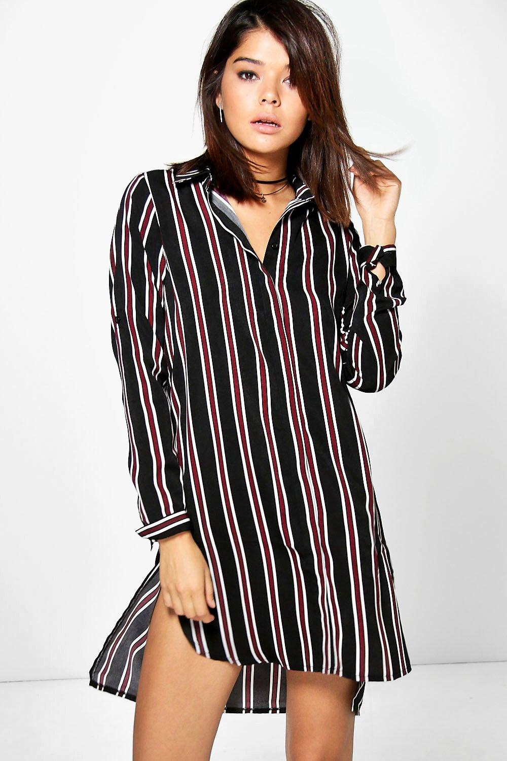 Stripe Long Sleeve Shirt Dress black