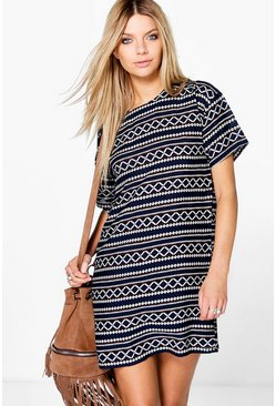 Aisling Aztec Cap Sleeve Shift Dress