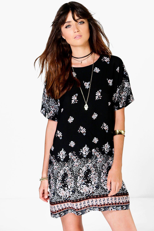 Floral Cap Sleeve Shift Dress black