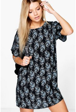 Georgia Paisley Cap Sleeve Shift Dress