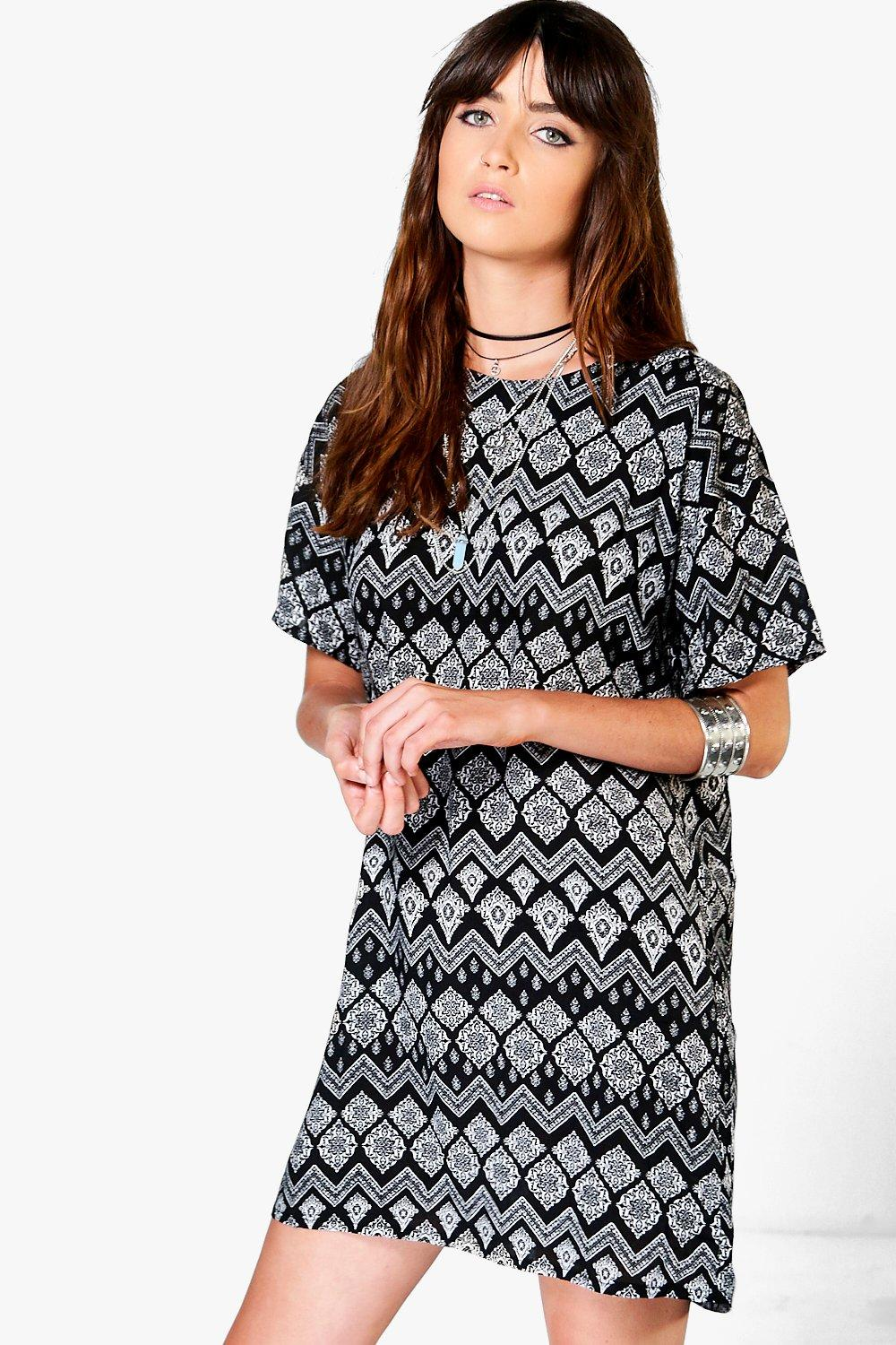 Charlie Printed Cap Sleeve Shift Dress