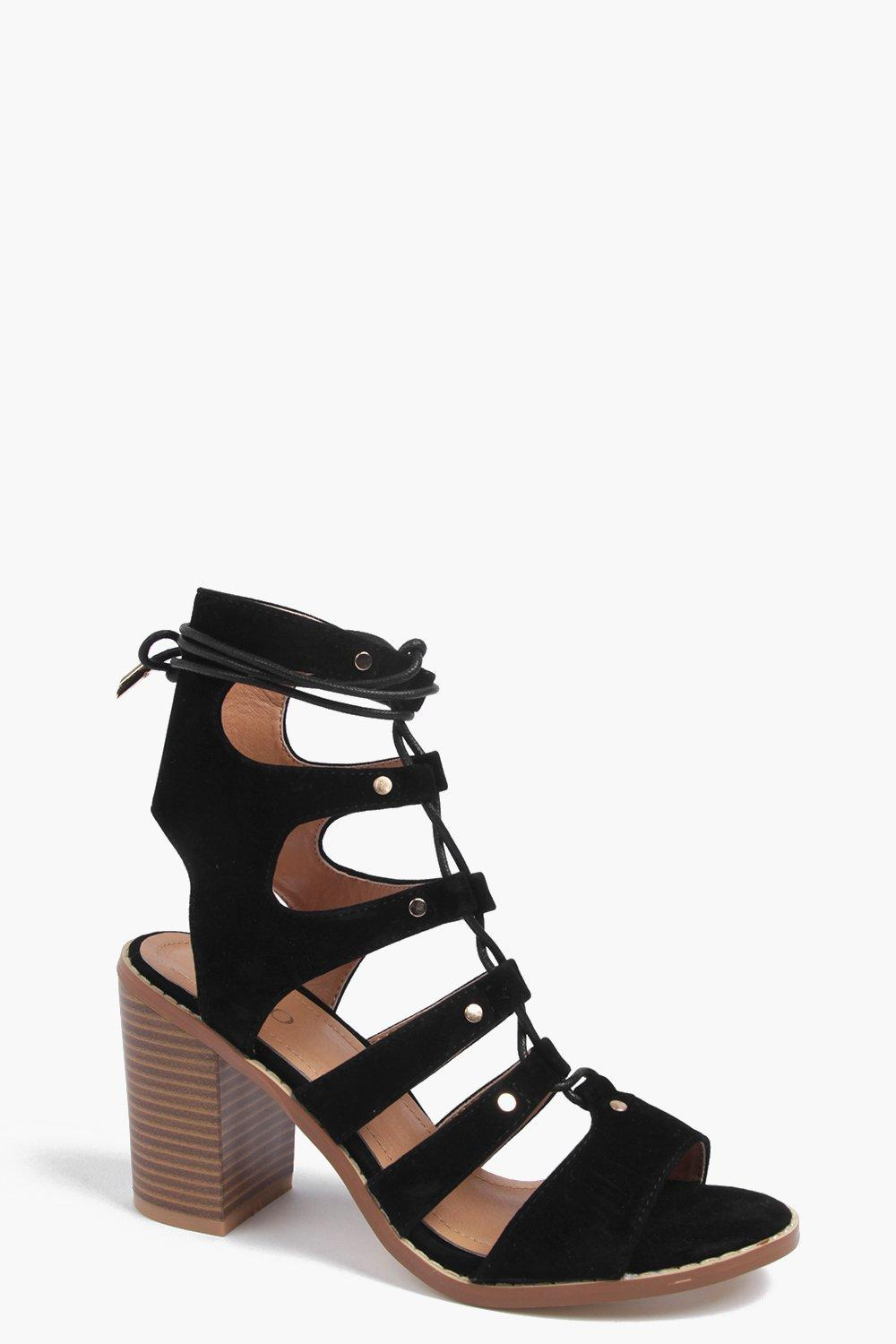 Tegan Lace Up Block Heel