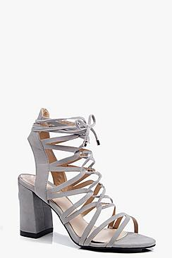 Lois Multi Strap Lace Up Block Heel