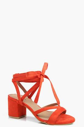 Edith Low Block Wrap Strap Heel