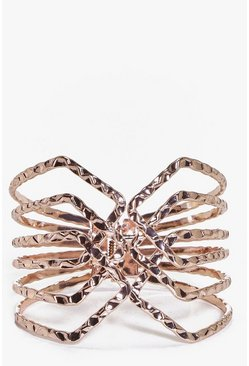 Nina Hammered Metal Caged Cuff Bracelet