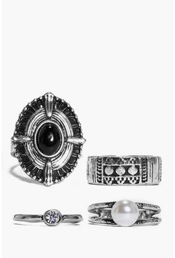Kara Large Stone And Pearl Mixed Ring Pack