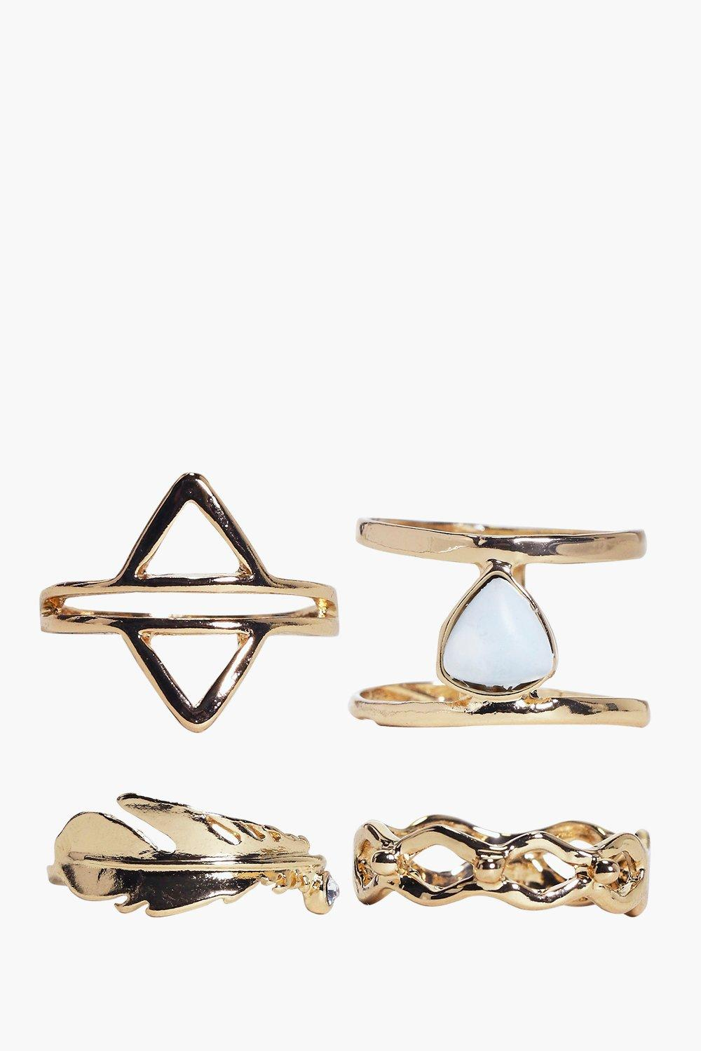 Edie Geometric And Stone Mixed Ring Pack