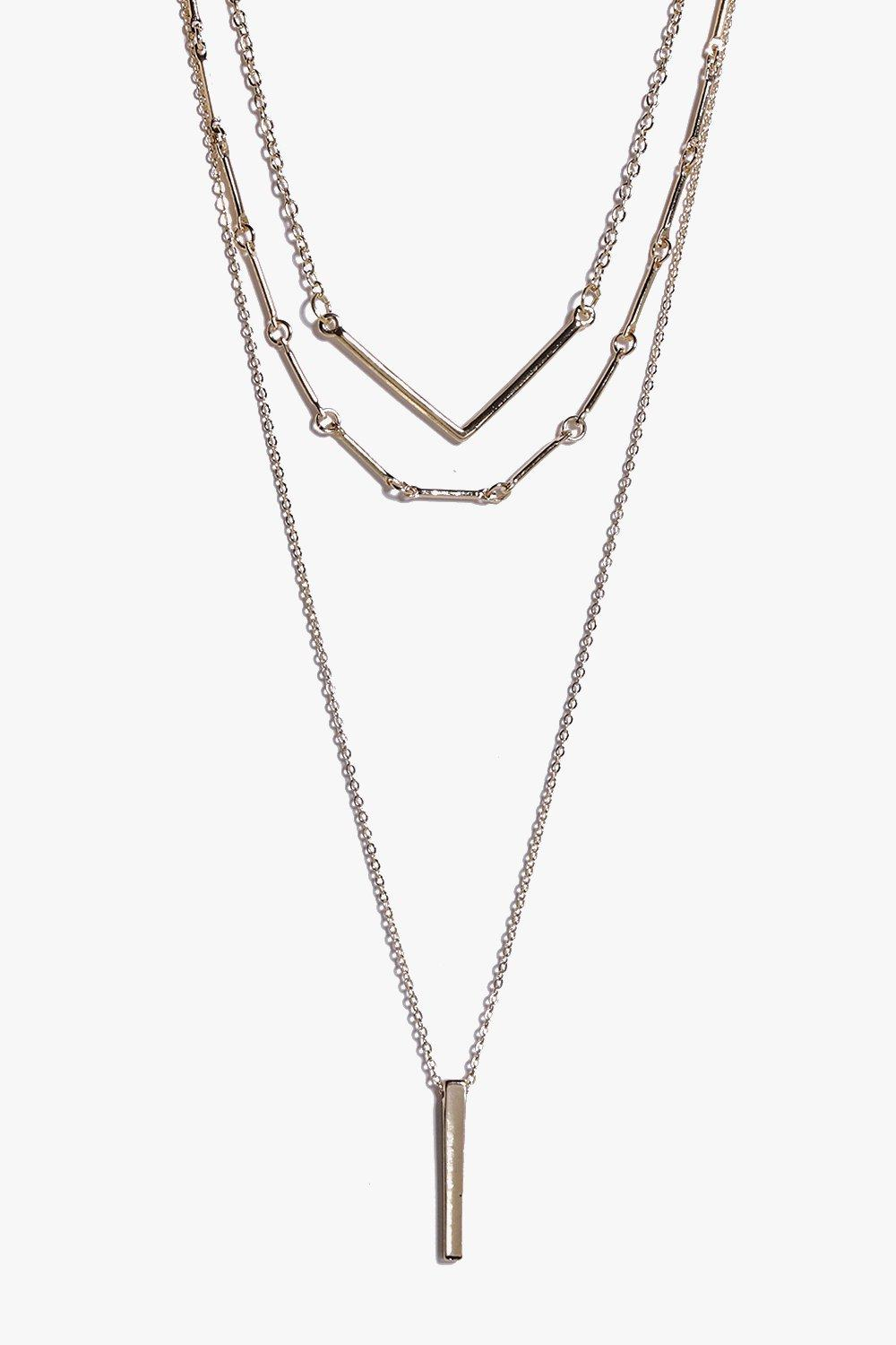 Edie Drop Pendant Layered Skinny Necklace