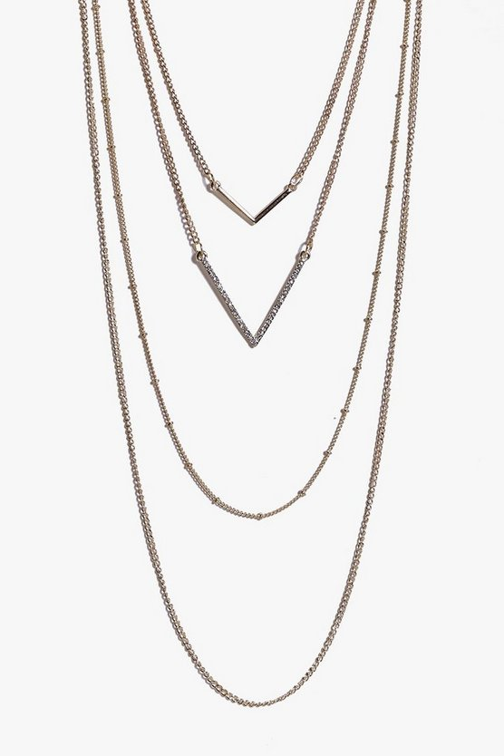 Zoe Double Chevron Layered Skinny Necklace