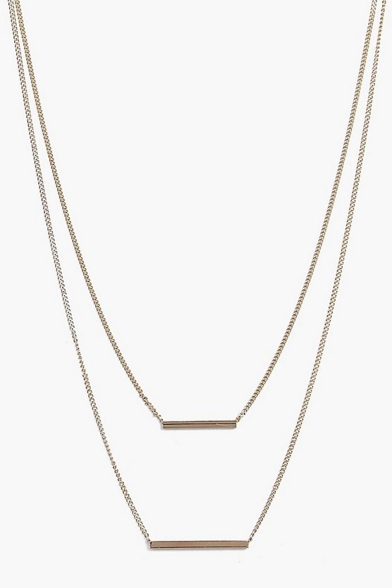Skinny Horizontal Bars Layered Necklace