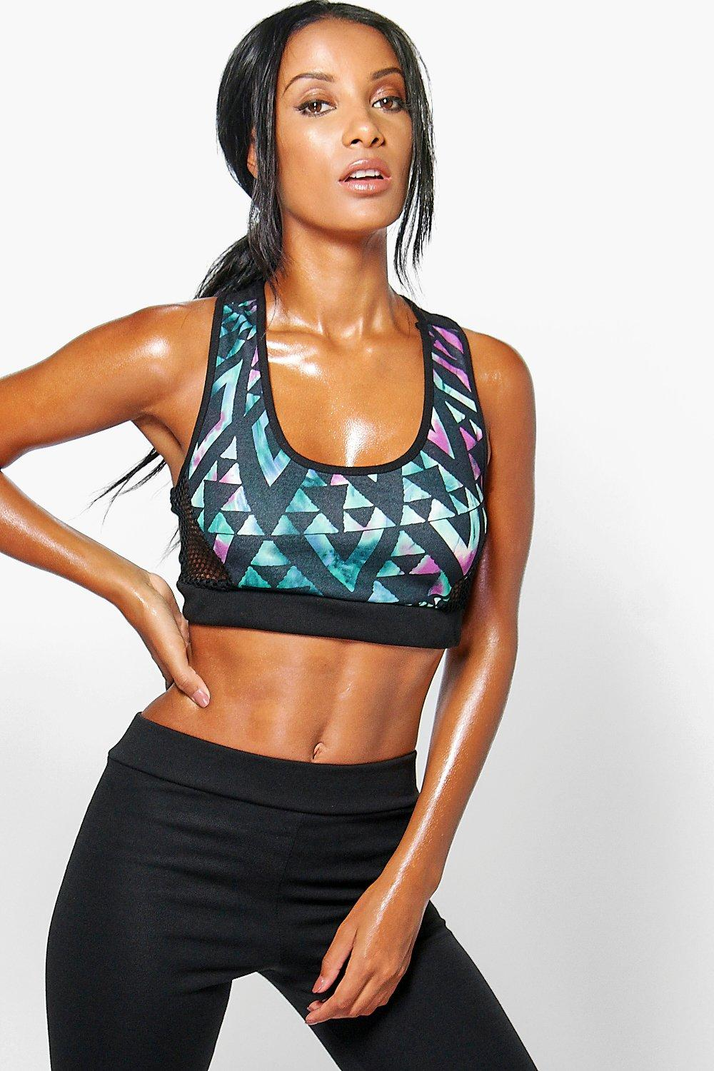 Lara Geo Print Mesh Side Panel Sports Bra