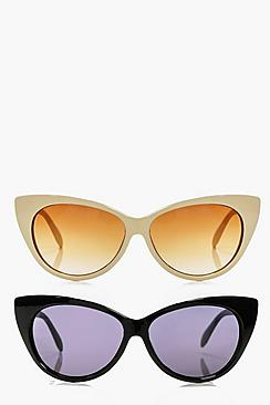 Eleanor Cat Eye Frame Sunglasses 2 Pack