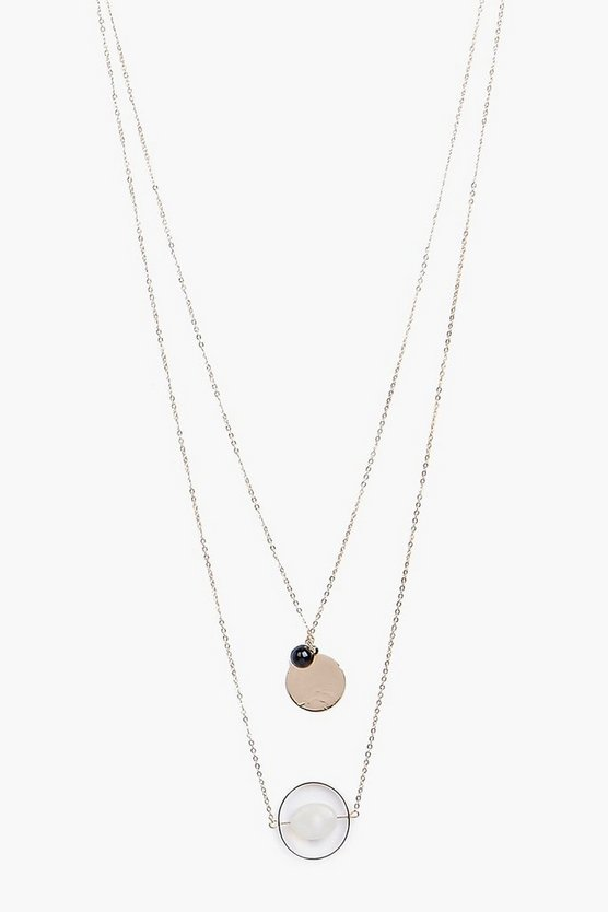 Faye 2 Stone Pendant Layered Necklace
