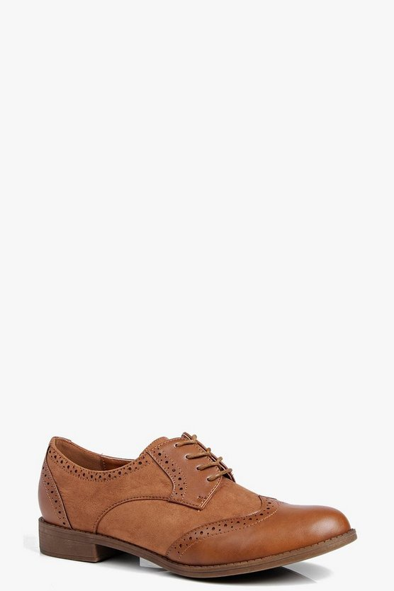 Alice Mix Material Lace Up Brogue Shoe