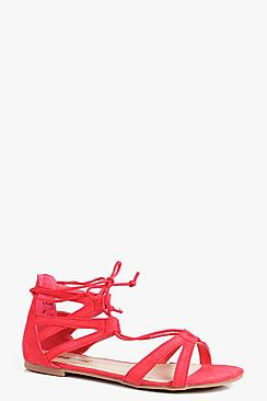 Erin Lace Up Flat Ghillie Sandal