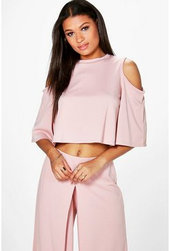 Faith Crepe Cold Shoulder Top