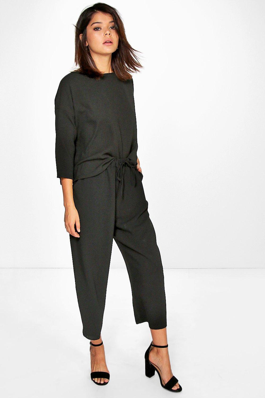 Premium Woven Crop Trouser black