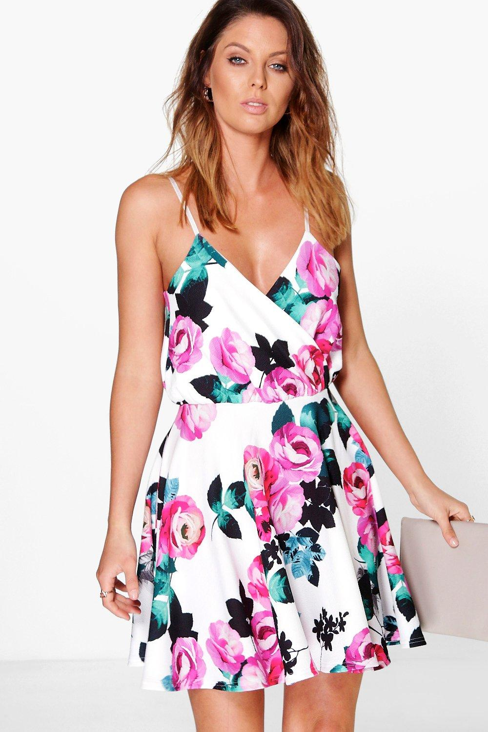 Niamh Floral Strappy Wrap Skater Dress