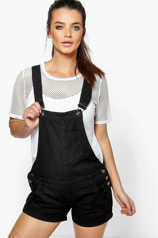 Tessa Black Denim Distressed Dungaree Shorts