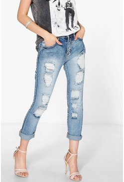 Jeesie Slim Fit Distressed Boyfriend Jeans