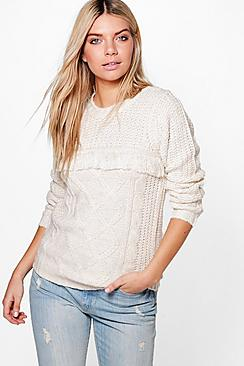 Emma Tassel Trim Cable Knit Chunky Jumper