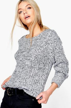 Mia Chunky Marl Turn Up Cuff Jumper