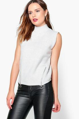 Evie Zip Sleeveless Knit
