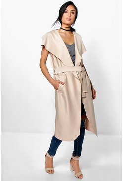 Katie Sleeveless Shawl Collar Belted Duster