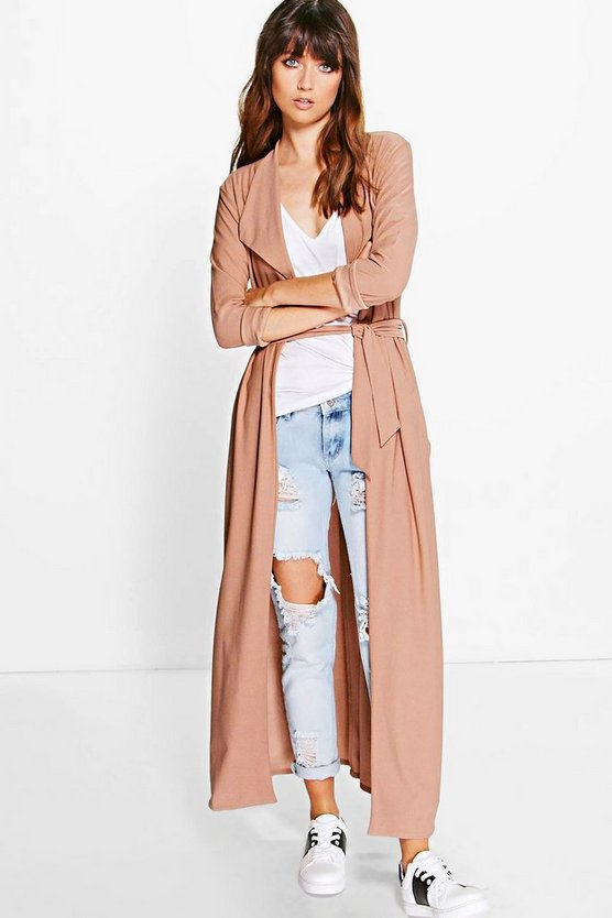 Maya Waterfall Belted Maxi Trench