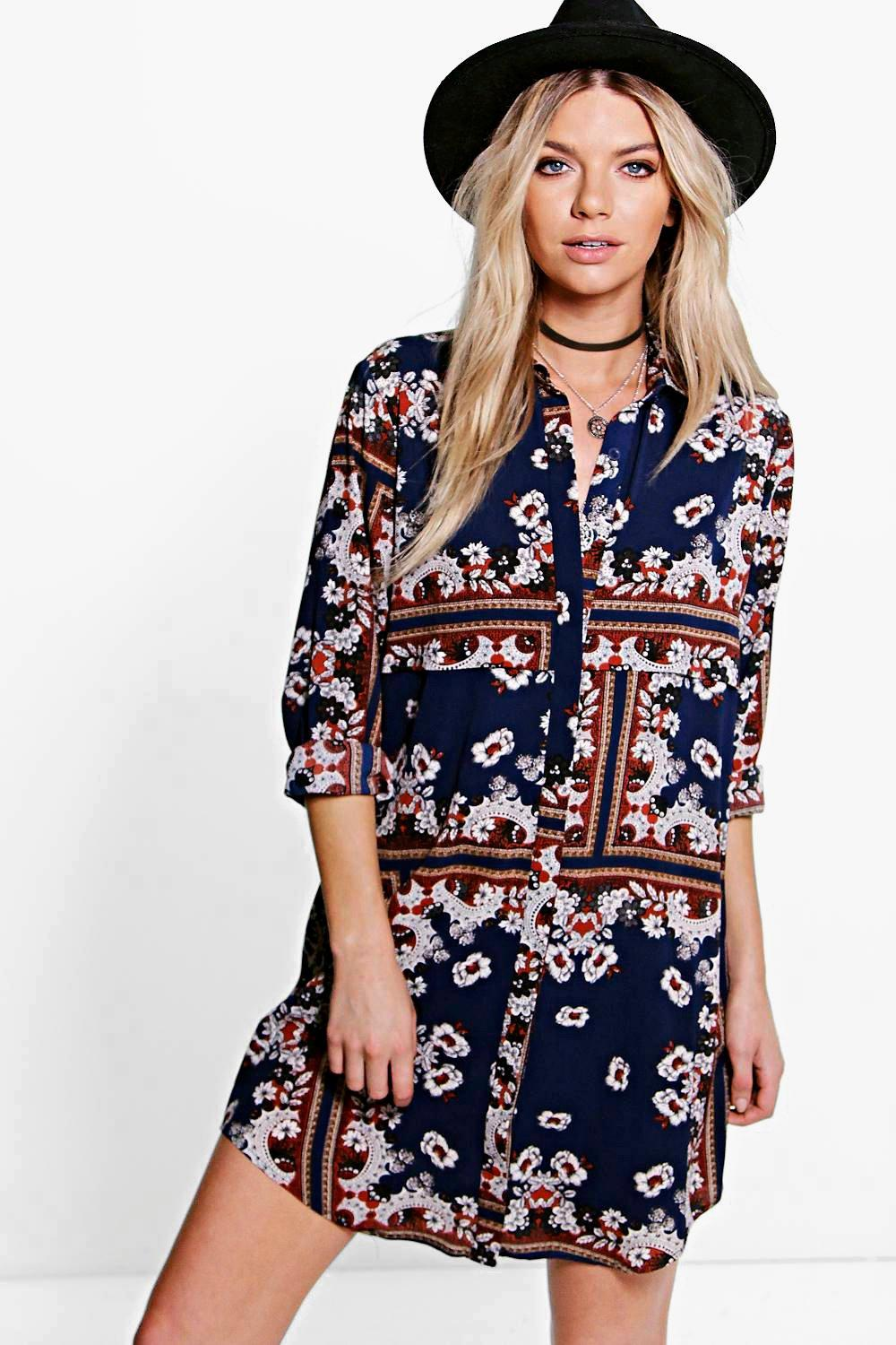 Paisley Shirt Dress navy