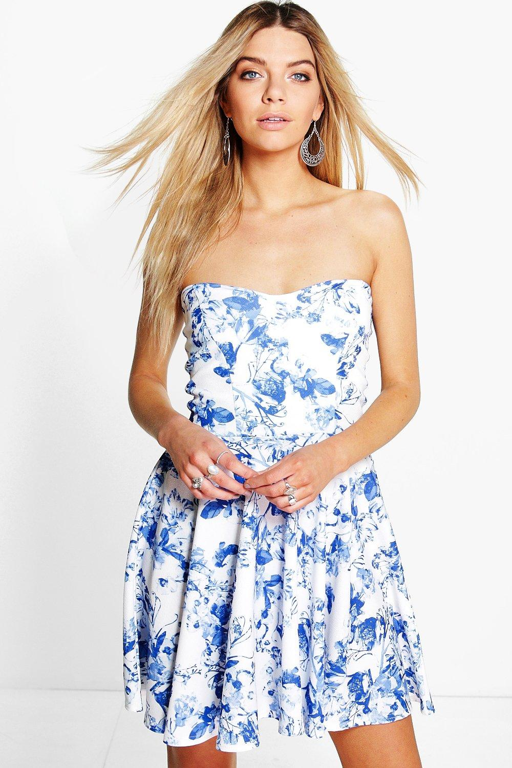 Allie Floral Bandeau Skater Dress